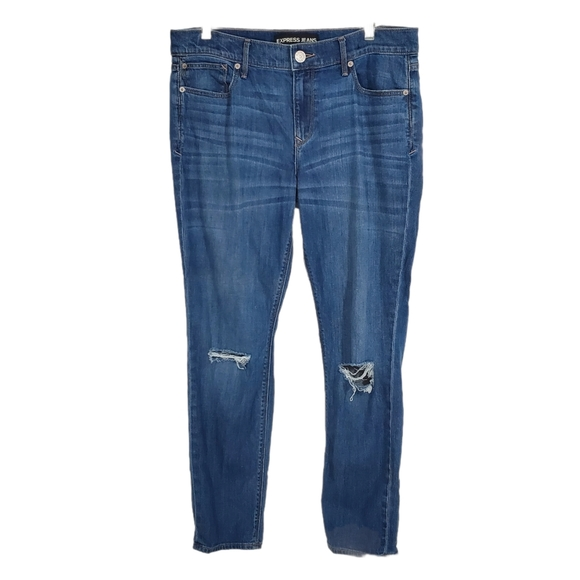Express Super Skinny Mid Rise Ripped Jeans